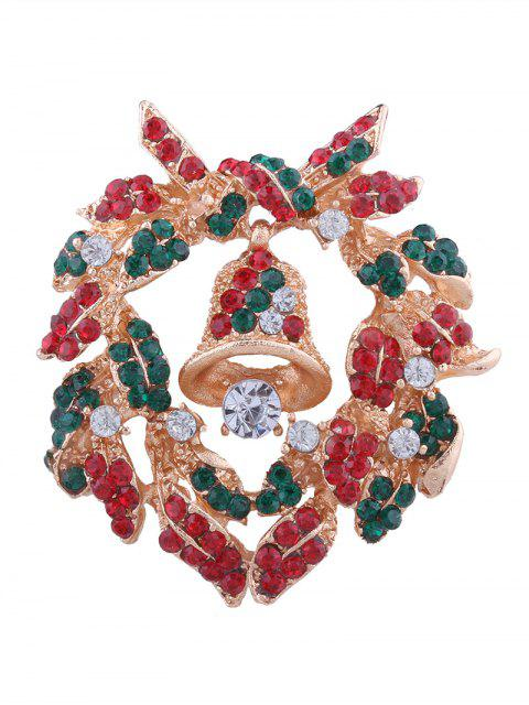 latest Christmas Bell Wreath Rhinestone Brooch - COLORMIX  Mobile
