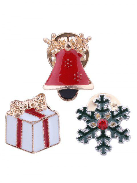 online Christmas Bell Snowflake Bows Gift Brooches - RED  Mobile