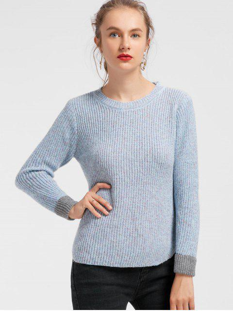 trendy Side Slit Heathered Contrasting Sweater - LIGHT BLUE ONE SIZE Mobile