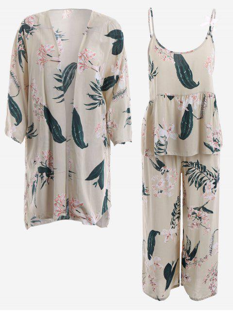 sale Pajamas Lily Print Kimono And Cami Top And Pants - LIGHT APRICOT M Mobile