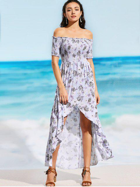 latest Off Shoulder Smocked Floral Slit Maxi Beach Dress - FLORAL L Mobile