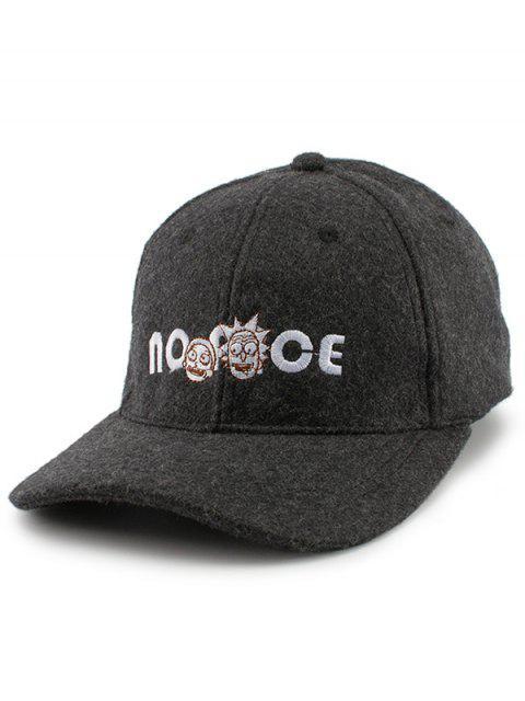 Cartoon Figure Letters Broderie Felt Baseball Hat - Noir  Mobile