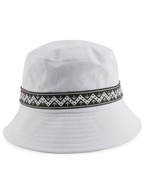 Zigzag Pattern Band Bucket Hat - Blanco  Mobile