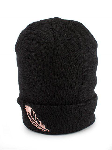 Chapeau en tricot à rayures en plumes - Noir  Mobile