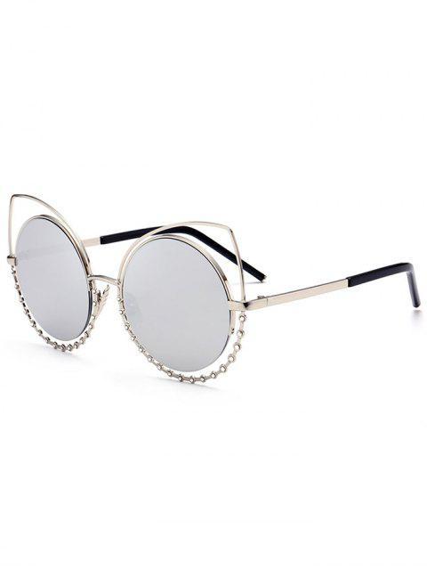 Legierung Strass-Katzenaugen-Sonnenbrille - Silberer Rahmen + Quecksilber Linse  Mobile