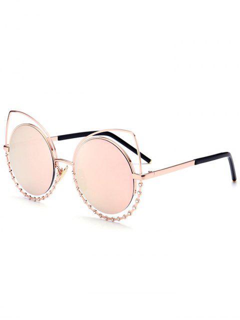 Legierung Strass-Katzenaugen-Sonnenbrille - Golder Rahmen + Rosa Linse  Mobile