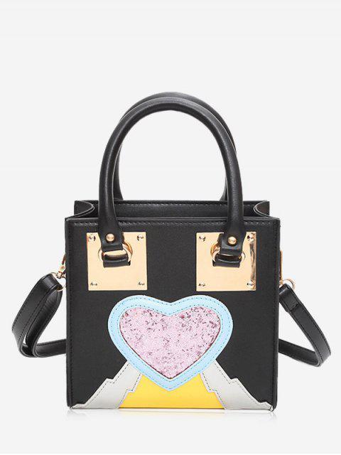 shops Glitter Heart Color Block Handbag - BLACK  Mobile