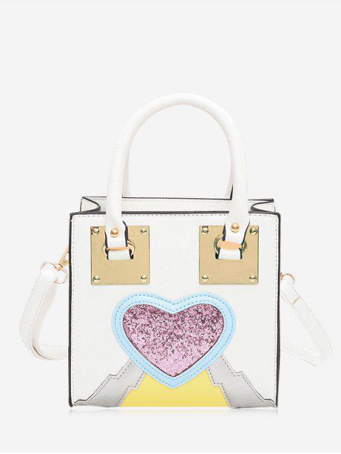 latest Glitter Heart Color Block Handbag - WHITE  Mobile