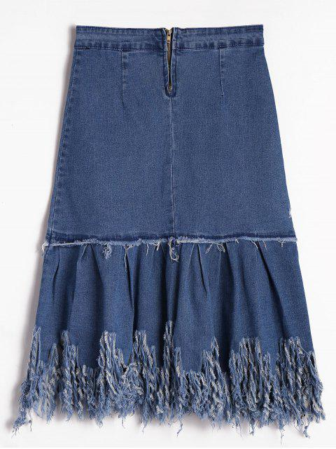 best Tassels A Line Denim Skirt - DENIM BLUE L Mobile