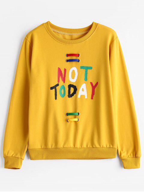 sale Crew Neck Embellished Letter Sweatshirt - YELLOW ONE SIZE Mobile