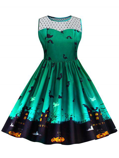 Halloween Lace Panel Vestido de talla grande - Verde 5XL Mobile