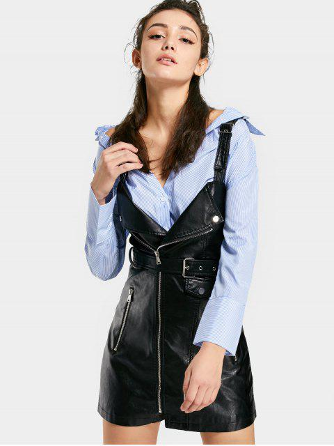 shop Zippered Faux Leather Belted Mini Dress - BLACK M Mobile