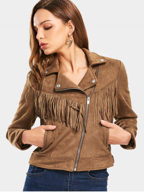 women's Zip Up Fringed Faux Suede Cropped Jacket - COFFEE M Mobile