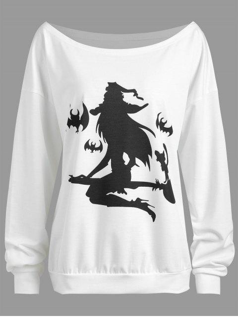 Más tamaño Halloween Witch Murciélago Imprimir gota Hombro Sudadera - Blanco XL Mobile