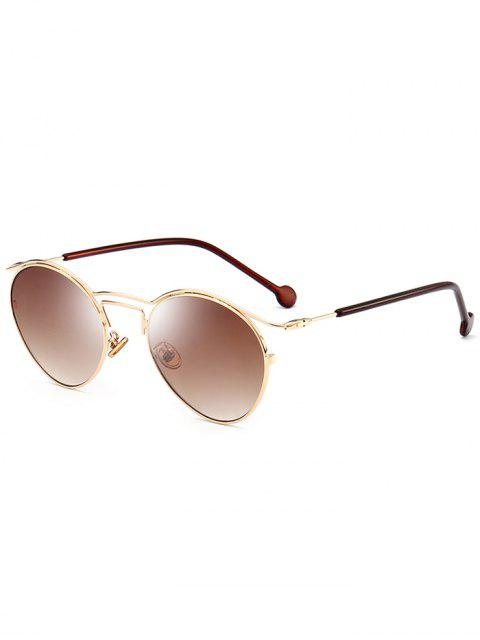 fashion Retro Pilot Sunglasses with Metal Frame - GOLD FRAME+DRAK BROWN  Mobile