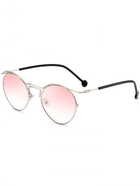 womens Retro Pilot Sunglasses with Metal Frame - PINK  Mobile