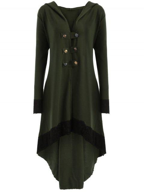 women Lace-up Plus Size Hooded High Low Coat - ARMY GREEN 3XL Mobile