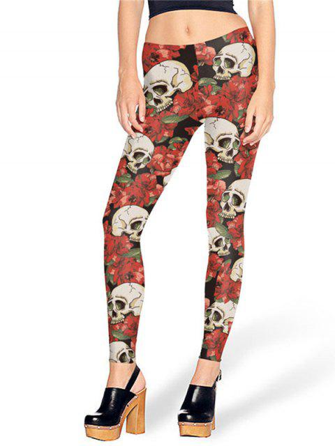 fancy Halloween Skull Roses Print Leggings - RED L Mobile