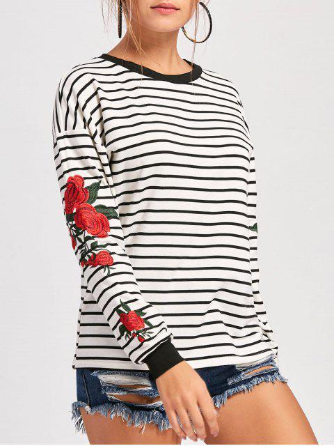 Sweatshirt mit Rundhalsausschnitt ,Drop-Schulter und Stickerei - Weiß XL  Mobile