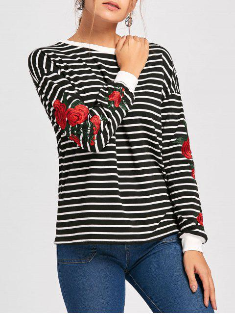 Sweatshirt mit Rundhalsausschnitt ,Drop-Schulter und Stickerei - Schwarz XL  Mobile