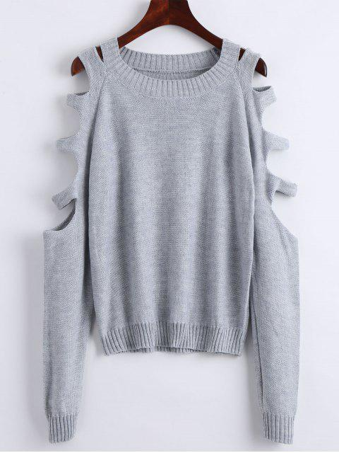 ladies Crew Neck Cut Out Pullover Sweater - GRAY S Mobile