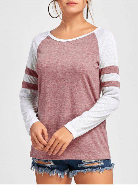 buy Double Striped Raglan Sleeve Top - PINK XL Mobile