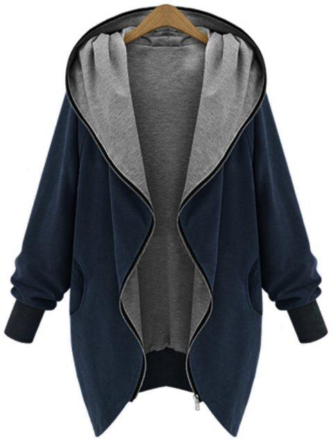 Zip Up Plus Size Kapuzenmantel - Kadettenblau 2XL Mobile