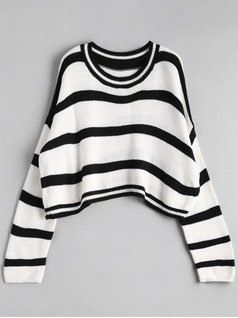 chic Crew Neck Stripe Cropped Sweater - OFF-WHITE ONE SIZE Mobile