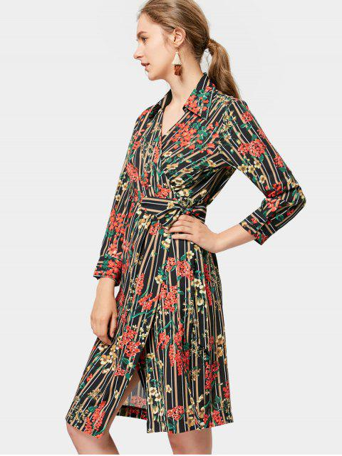 trendy Long Sleeve Wrap Floral Stripes Dress - FLORAL M Mobile