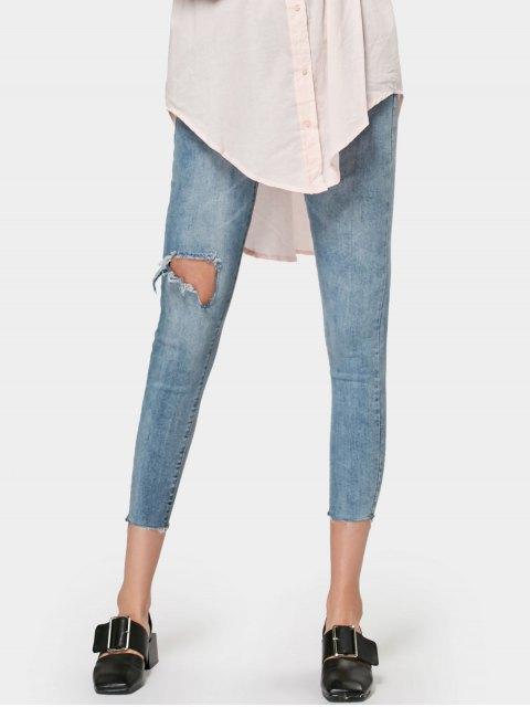 ladies Ninth Skinny Destroyed Pencil Jeans - DENIM BLUE M Mobile