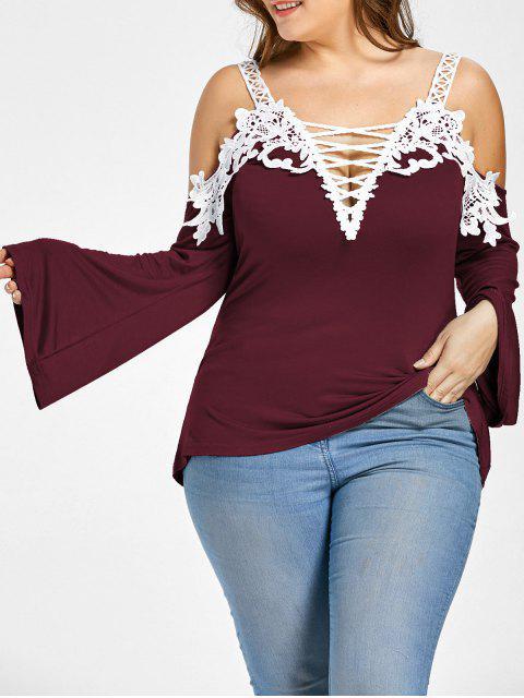 Schnüren Sie sich kalte Schulter Plus Size T-Shirt - Weinrot 3XL Mobile