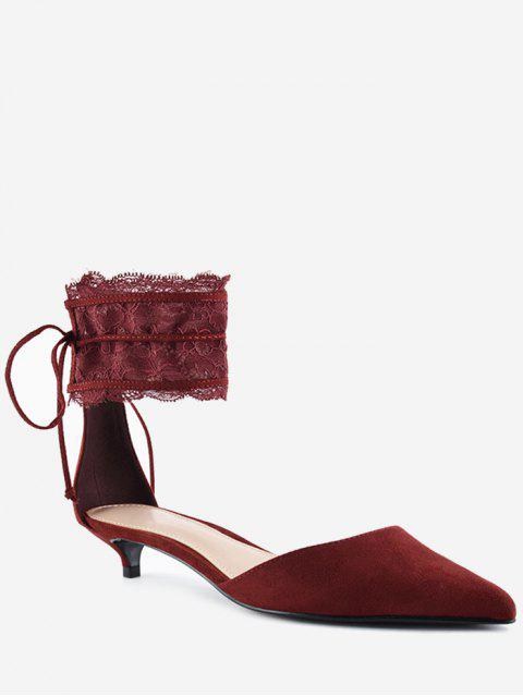 unique Pointed Toe Ankle Strap Two Pieces Sandals - WINE RED 37 Mobile