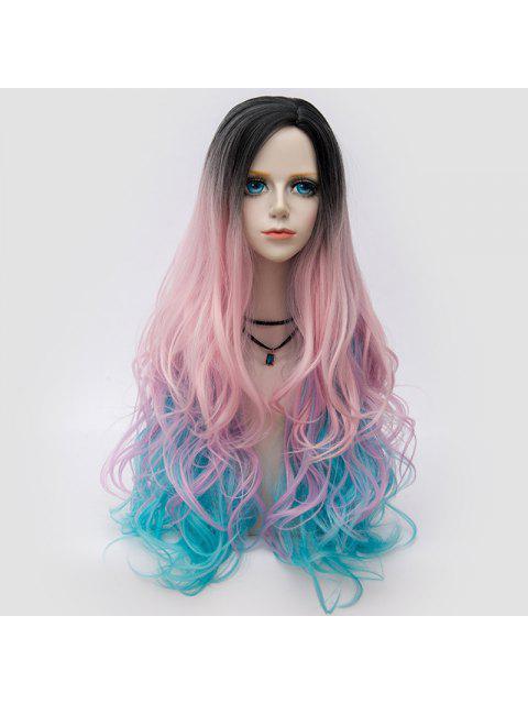 Larga Parte Parcial Shaggy Layered Ondulado Colormix Parte Peluca Sintética - rosáceo azul  Mobile