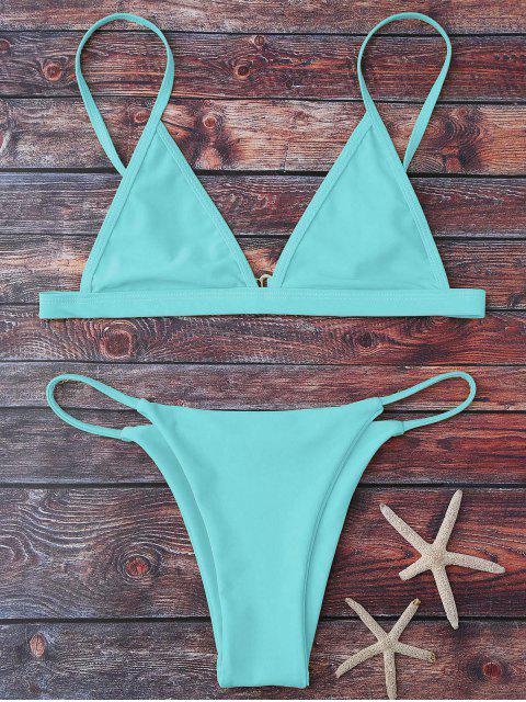 women Cami Plunge String Bikini Set - LIGHT BLUE M Mobile