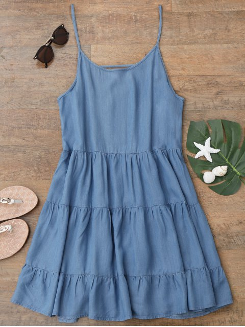 fancy Cami Low Back Chambray Beach Dress - BLUE M Mobile