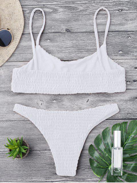 shop Smocked Bikini Top and Bottoms - WHITE M Mobile