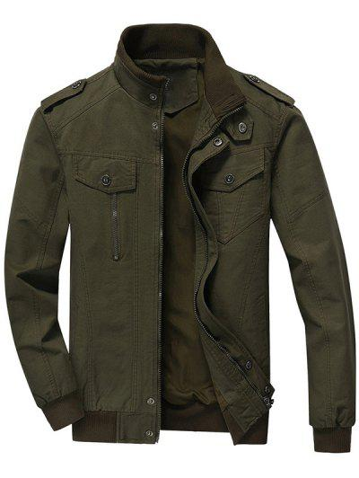 32 Off 2019 Zip Up Jacket Men Clothes In Army Green Zaful
