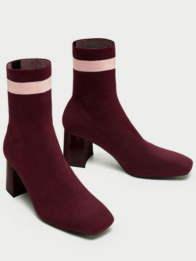 aeb511c2d1e ... Color Block Striped Pointed Toe Boots - Wine Red 38
