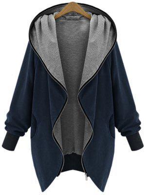 Zip Up Plus Size Hooded Coat