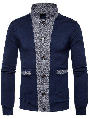Stehkragen Colour Block Panel Button Up Cardigan