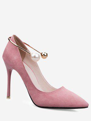 Ankle Strap Faux Pearl Stiletto Pumps
