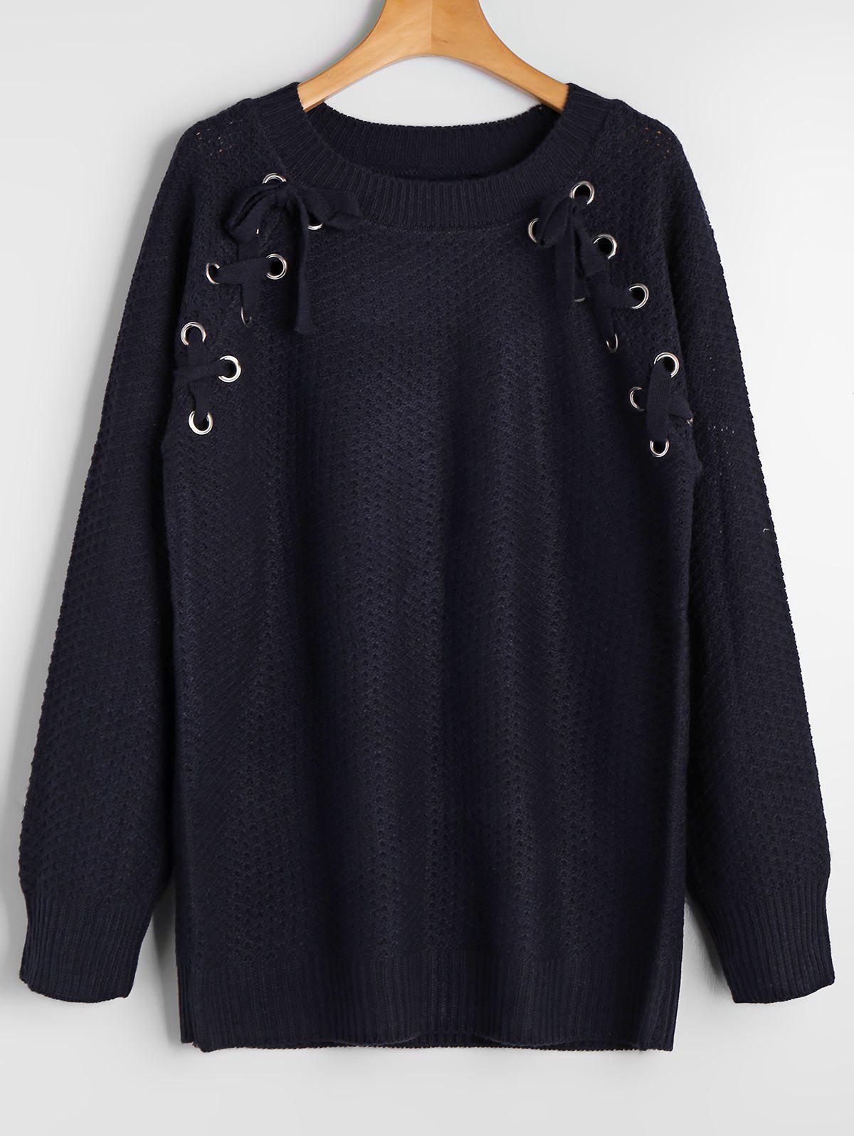 Loose Lace Up Raglan Sleeve Sweater 225502101