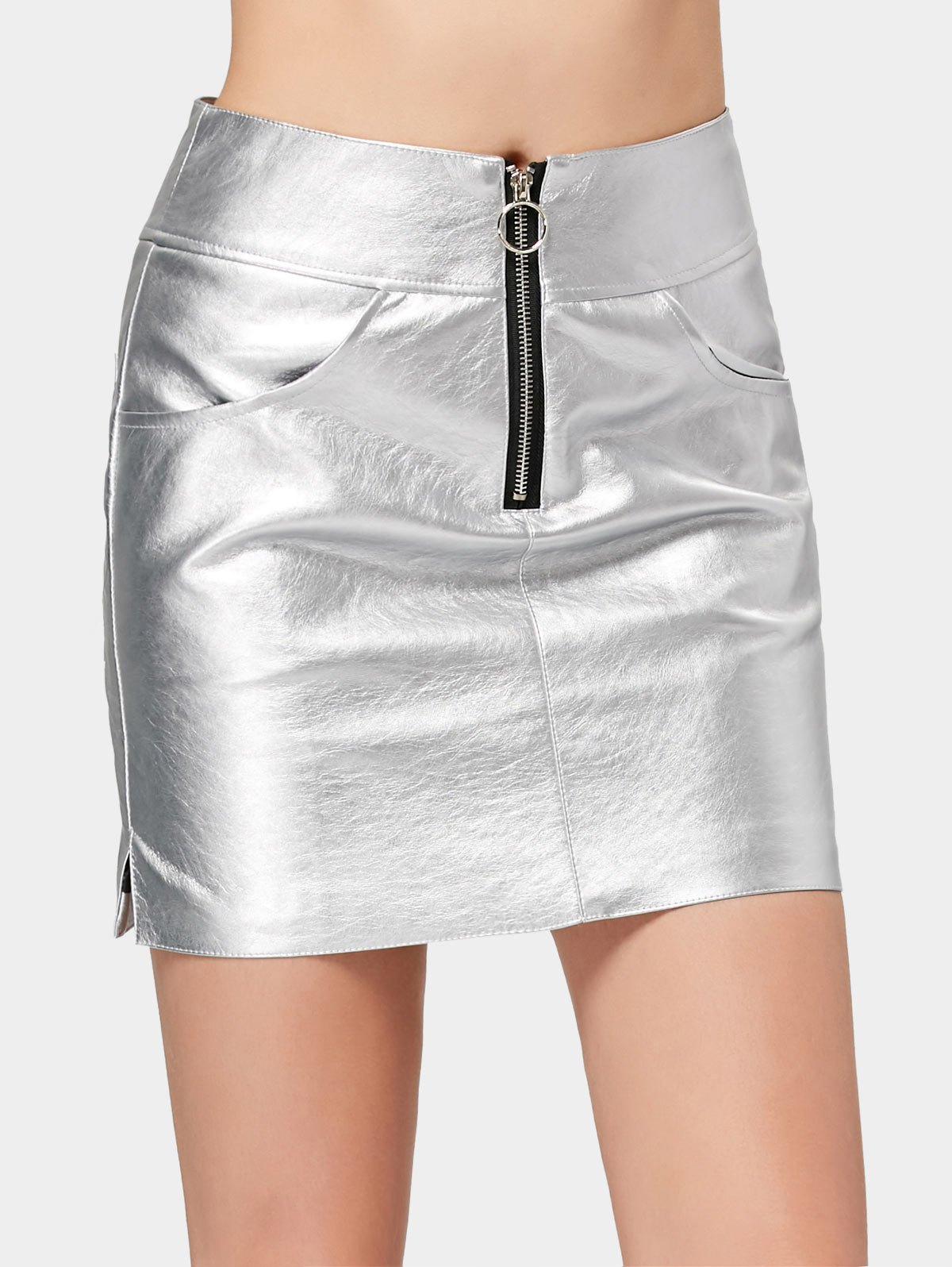 Image of Half Zip Faux Leather Shiny Mini Skirt
