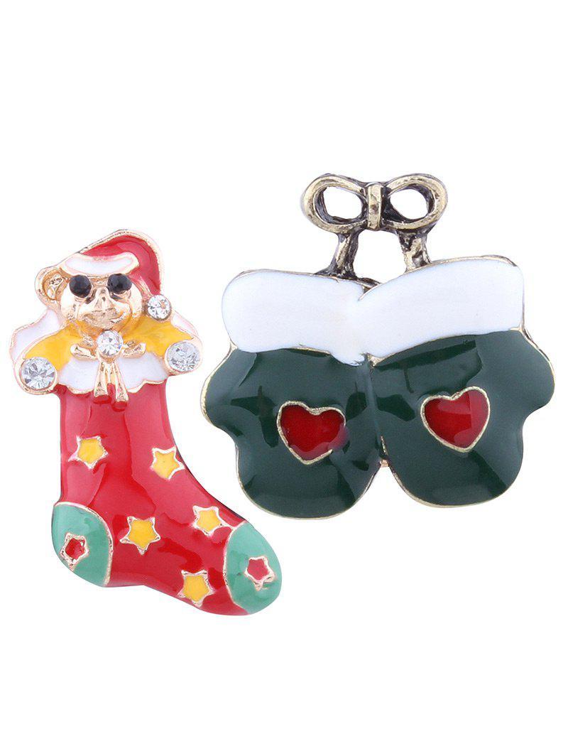 Le bas de Noël arme les gants de coeur Broches