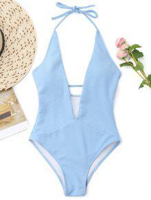 مضلع يغرق العنق ملابس السباحة بيتد - الضوء الأزرق L