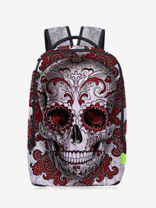 حقيبة ظهر من القماش بمط جمجمة ذات سحاب - أحمر