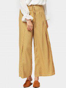 Pantalones De Pierna Anchos Geométricos De Corte Alto - Amarillo S