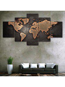 خمر خريطة العالم طباعة غير المؤطرة قماش لوحات سبليت - كميت 30*40cm*2pcs/30*60cm*2pcs/30*80cm*1pcs