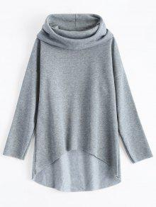 Sweat à Capuche Tunique Haut-Bas - Gris S