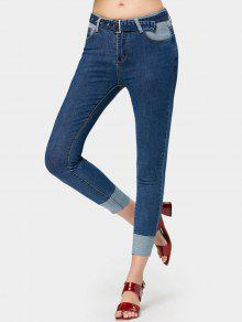 Skinny Contrast Belted Pencil Jeans - Jeans Azul L